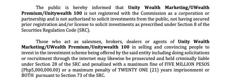 Unity Wealth SEC statement